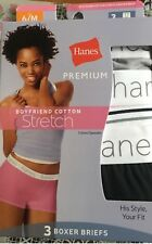 Hanes boyfriend cotton stretch women's boxer briefs 3 in a pack and 4 in a pack