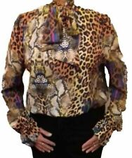 JOHN ZACK MULTI COLOURED ANIMAL LEOPARD  AND SNAKE PRINT V NECK PUSSY BOW BLOUSE