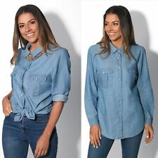 Women Ladies Basic Long Jean Blouse Button Down Loose Denim Shirt Casual Top