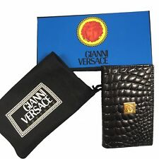 NEW IN BOX Vintage 90's Gianni Versace Faux Crocodile Business Card Holder Black