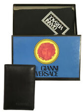 NEW IN BOX Vintage 90's Gianni Versace Card Case Wallet!   Black Leather