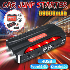 89800mAh 4 USB LED Car Jump Starter Pack Booster Charger Battery Power Bank Case