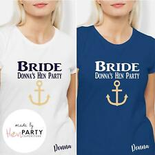 Personalized Bride Glitter Anchor Sailor Nautical Hen Night Hen Party T-Shirt
