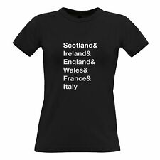 The Six Nations Womens TShirt Scotland, Ireland, England Wales, France, Italy