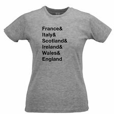 The Six Nations Womens TShirt France, Italy, Scotland Ireland, Wales, England