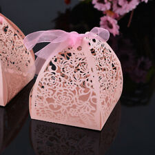 10PCS Candy Gift Box Wedding with Ribbon Hollow Wedding Candy Box Wedding Party