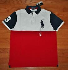 Mens Polo Ralph Lauren Custom SLIM Fit Polo Shirt BIG PONY Red White Blue *5K