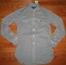 NWT Polo Ralph Lauren Mens Slim Fit Dress Shirt Gingham Black Pony Logo *F3
