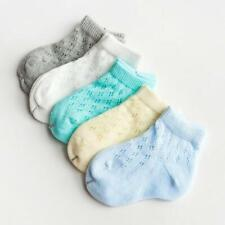 Baby Toddler 5 Pairs of Cotton Mesh Breathable Socks. Solid Colors
