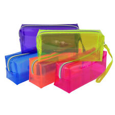 Clear Large Capacity Zipper Stationery Pencil Case Cosmetic Bag Pouch Storage UK