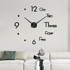 DIY Wall Clock 3D Mirror Surface Sticker Home Office Decor Clock (Large Size) .