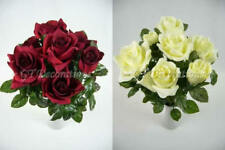 2x Artificial Silk Flowers Wedding Velvet Rose with Bud Bushes
