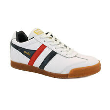 Gola Harrier Unisex Laced Leather Trainers White