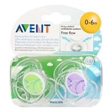 2 Pack Avent Philips Orthodontic Soothers - Free Flow Dummies Dummy Pacifier