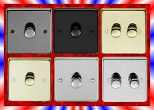 1 OR 2 GANG DIMMER LIGHT SWITCH. POLISHED OR BRUSHED BRASS OR STEEL MATT BLACK