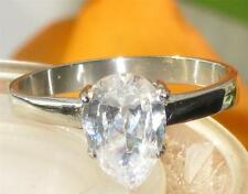 STR394 1.65ct PEAR CUT SOLITAIRE  SIMULATED DIAMOND RING STEEL NEVER TARNISH