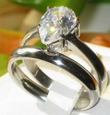 STR394 1.65ct PEAR CUT SOLITAIRE  SIMULATED DIAMOND RING WEDDING BAND SET STEEL