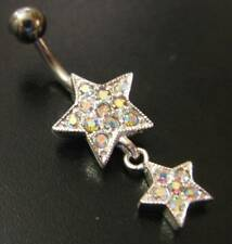 925 SILVER Dangle Belly Bar - STARS - AB Crystals - 6mm 8mm 10mm 12mm 14mm