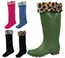WOMENS WELLIE BOOT LINERS SOCKS WINTER SNOW LADIES FUR CUFF LEOPARD / FAIRISLE