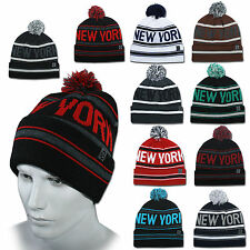Ethos GORRO BEANIE NEW YORK CITY Flap + LARGA de invierno Borla tapa nueva