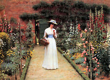 LADY IN A GARDEN Edmund Blair Leighton .. Various Sized UNframed Canvas Prints