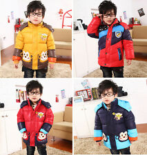 New Kids Boys Winter Cartoon Monkey Hooded Zip Jacket Coat Warm Size 3-8Yrs