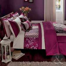 Embroidered Patchwork Duvet Cover Purple Cream Luxury Faux Silk Bedding Bed Set