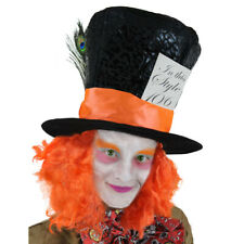 MAD HATTER TOP HAT WITH HAIR BOOK WEEK CHARACTER FANCY DRESS COSTUME ACCESSORY