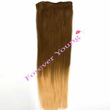 Clip-in Dip Dye Ombre Remy Human Hair Extensions Light Brown to Golden Blonde