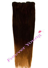 Clip-in Dip Dye Ombre Remy Human Hair Extensions Natural Black to Light Brown