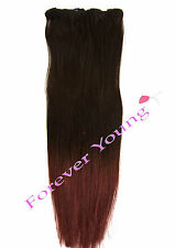 Clip-in Dip Dye Ombre Remy Human Hair Extensions Natural Black to Plum Red