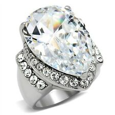 TK184PB BIG 9CT PEAR CUT SIMULATED DIAMOND RING STAINLESS STEEL NOT TARNISH