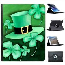 Lucky Irish Shamrock & Green Leprechaun Hat Folio Leather Case For iPad 2, 3 & 4