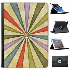 Old Vintage Sixties Style Grunge Sunburst Swirl Leather Case For iPad Air, Air 2