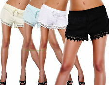 Italy Shorts Lace Hot Pants Stoffhose Hose m.Spitze*Weiss Schwarz*S M L-36 38 40