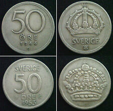 SWEDEN 50 Ore Silver Coins Choice of coins supplied in coin wallet