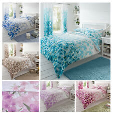 Flowery Blossoms Duvet Quilt Cover - Oriental Inspired Floral Bedding Set