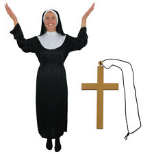 NUN COSTUME LADIES BLACK HABIT + CROSS RELIGIOUS FANCY DRESS SUPERIOR CHURCH
