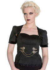 Spin Doctor Lorena Top Black Gothic Steampunk VTG Victorian Shirt Blouse