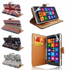 Printed PU Leather Wallet Flip Stand Case Cover For Nokia Lumia 930+Screen Guard