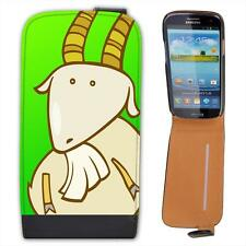 Funny Cartoon Billy Goat Goat With Crossed Legs Leather Flip Case for Samsung S3