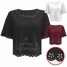 NEW LADIES LASER CUT SCALLOP EDGE TOP WOMENS BOXY CROP SHORT SLEEVE BLOUSE HEM