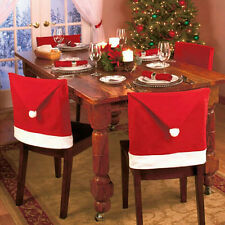Santa Clause Red Hat Chair Back Covers Christmas Dinner Table Party Decor Gift