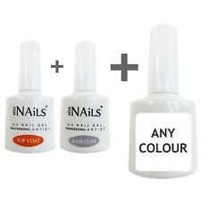 Miss Nails® 3 Pack TOP and BASE COAT + 1 COLOUR UV LED Nail Gel Soak Off Polish
