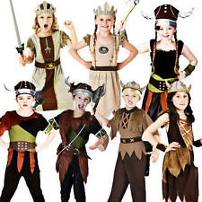 Viking Warrior + Helmet Kids Fancy Dress Book Day Week Historical Childs Costume