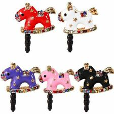 CRYSTAL DIAMOND GLITTER CLASSIC ROCKING HORSE DUST CAP FOR IPHONE 5G 5S 5C