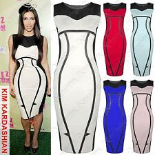 NEW LADIES CONTOUR PRINT CELEB DRESS WOMENS BODYCON BLACK MIDI SLIM LOOK DRESSES