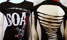 SONS OF ANARCHY SOA M-16 ROSES SCYTHE GUN LASER CUT BIKER JUNIORS SHIRT S-2XL