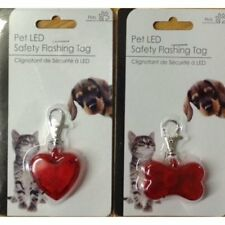 Red Bone or Heart Shape Pet Dog LED Safety Flashing Tag Collar Hi-Visibility