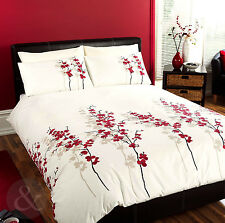 Oriental Bedding Floral Luxury Red Cream Duvet Cover Bed Quilt Cover Set
